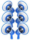 Mavi bir megafon — Stok fotoğraf
