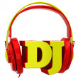 Stock Photo: Headphones with inscription dj