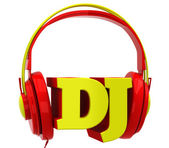 Headphones with the inscription dj — Stock Photo