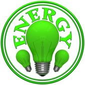 Sign energy with green bulbs — Stock Photo