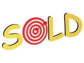 The word Sold with target — Stok fotoğraf