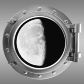 Porthole with a view to moon — Stock Photo