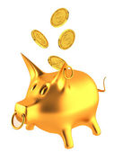 Gold piggy money bank with coins — Stock Photo
