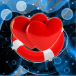 Red hearts in life buoy — Stock Photo