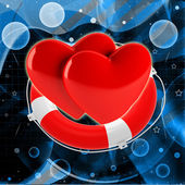 Red hearts in life buoy — Foto de Stock