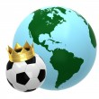 Soccer ball with crown and globe - Stock Photo