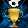 Gold cup with a soccer ball - Stock Photo