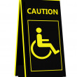 Disabled person warning sign - Stock Photo