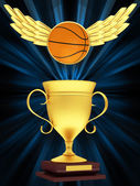 Gold Cup with basketball — Stock Photo