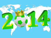 Inscription year 2014 with a soccer ball — Stock Photo
