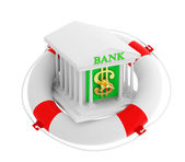 Bank building in life buoy — Stock Photo