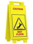 знак осторожно мокрый пол — Стоковое фото