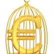 Sign euro in a cage — Photo