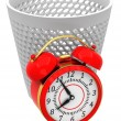 Alarm clocks in trash bin — Stockfoto