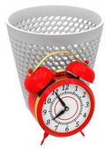 Alarm clocks in trash bin — Stock Photo