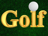 Inscription golf with ball — Stock Photo