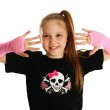 Portrait of a young girl with punk gloves — Stock Photo