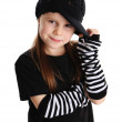 Portrait of a punk rock young girl with hat — Stock Photo