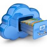 Speicherung von Dateien in der Wolke. 3D Computersymbol isoliert auf weiss — Stockfoto