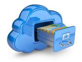 Dosya depolama bulutu. 3d bilgisayar simgesinin üzerine beyaz izole — Stok fotoğraf