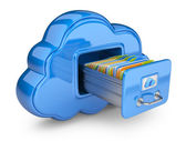 File storage in cloud. 3D computer icon isolated on white — Stok fotoğraf
