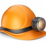 Майнер шлем с лампой. Значок 3D, изолированные на белом фоне — Стоковое фото