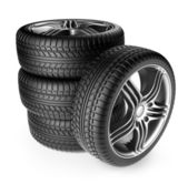 Tire with metal wheel. 3D Icon isolated on white background — Stock Photo