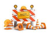 Bajo el concepto de la construcción. barrera 3d aislado en blanco — Foto de Stock
