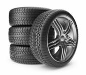 Automobile tire. Wheel 3D, Icon isolated on white background — Stock Photo