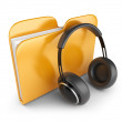 Yellow audio folder with headphones. 3D Icon isolated on white — Stock Photo