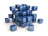 Assemble or destruction cubes. 3D Illustration isolated on white — Stock Photo