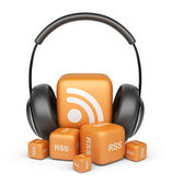 Feed of rss audio news. Podcast concept. 3D icon isolated — Stock Photo