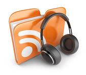 RSS audio folder. Concept of podcast feed. 3D Icon isolated — Stock Photo