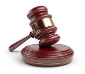 木小木槌。法律概念。孤立的 3d 图标 — 图库照片