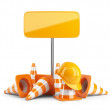 Traffic cones and hard hat. Road sign. Icon isolated on white ba - Stock Photo
