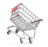 Crazy market cart 3D. Shopping concept. Isolated on white backg — Stock Photo
