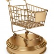 Golden Market cart. Best Sellers concept. 3D Isolated on white b — Stock Photo