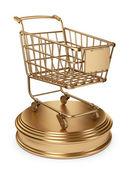 Złoty rynku koszyka. koncepcja najlepszych sprzedawców. 3d na białym tle na b biały — Zdjęcie stockowe