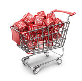 Red market shopping cart. Discount concept. 3D Isolated — Stockfoto
