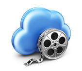 Storage movie film in cloud. 3D Icon isolated on white backgroun — Stock Photo