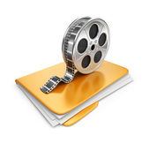 Movie folder with a films spool. 3D Icon isolated on white backg — Stock Photo