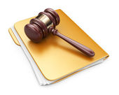LAW hammer on computer folder. 3D Icon isolated on white backgro — Stock Photo