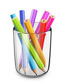 Colorful pens in glass. 3D Icon isolated on white bacground — Stock Photo