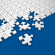 Damaged assembling of puzzle. 3D Illustration on blue background — Stock Photo