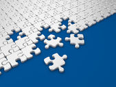 Damaged assembling of puzzle. 3D Illustration on blue background — Stock Photo
