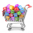 Shopping cart with app icons. 3D Isolated on white background — Stock Photo