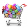 Shopping cart with app icons. 3D Isolated on white background — Stock Photo #36919177