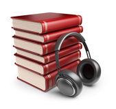 Ses kulaklık ile kitapları. Beyaz adam izole 3d simgesi — Stok fotoğraf