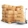Hand truck with cardboard boxes. 3D Icon isolated on white backg — Stock Photo #41476885