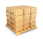 Cardboard boxes on palette. Deliver concept. 3D Icon isolated  — Stock Photo